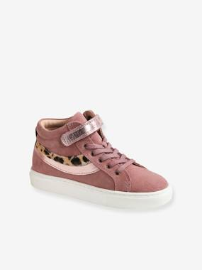 High-Top Leather Trainers, for Girls pink medium solid
