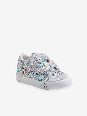 Fabric Trainers with Touch Fasteners, for Baby Boys white light all over printed