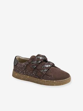 Touch-Fastening Leather Trainers for Girls, Designed for Autonomy beige medium all over printed