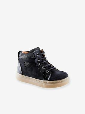 Leather High-Top Trainers with Laces, for Baby Girls dark blue