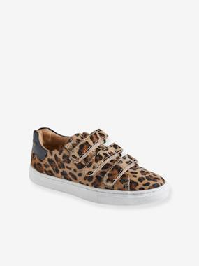 Leather Trainers with Touch Fasteners, for Girls beige/print